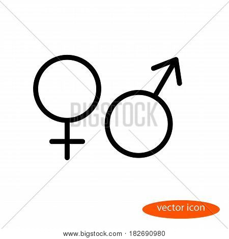 Simple vector linear image of the symbols of female and male organisms or planets Venus and Mars line icon flat style.