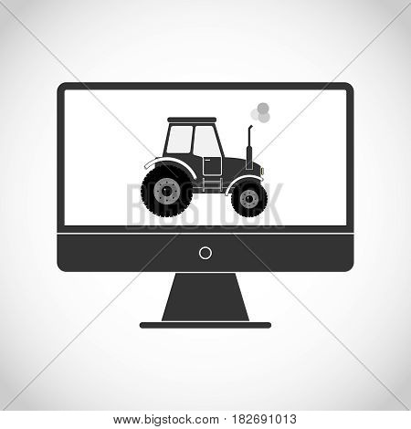 Tractor on the monitor. Flat design vector illustration vector.