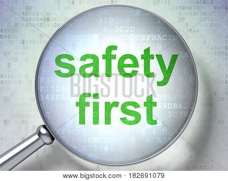 Privacy concept: magnifying optical glass with words Safety First on digital background, 3D rendering