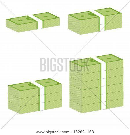 money stack sign. money stack on white background.