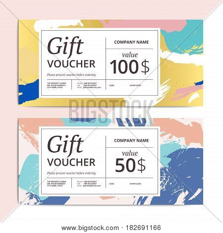 Trendy abstract gift voucher card templates. Modern luxury discount coupon or certificate layout with artistic brush stroke pattern. Vector fashion luxury background design with information sample text.