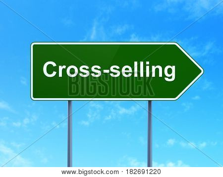 Business concept: Cross-Selling on green road highway sign, clear blue sky background, 3D rendering