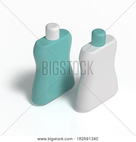 blank bottles, healthcare product packaging, 3d render, isolated on black background