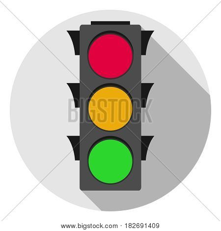 A traffic light with a shadow. Flat design vector illustration vector.