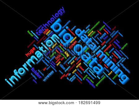 Big data themed word cloud with information and data mining text