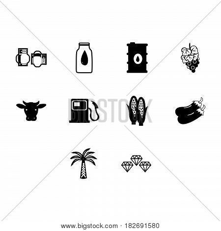 a collection of simple commodities icon vector