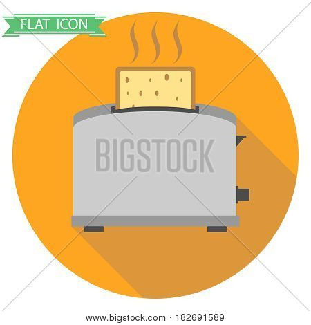 Toaster with hot toast. Flat design vector illustration vector.