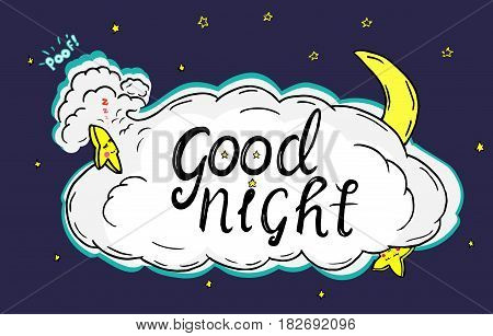Wishing you a good night. Illustration of night sky with clouds and stars sleeping hugging a cloud.