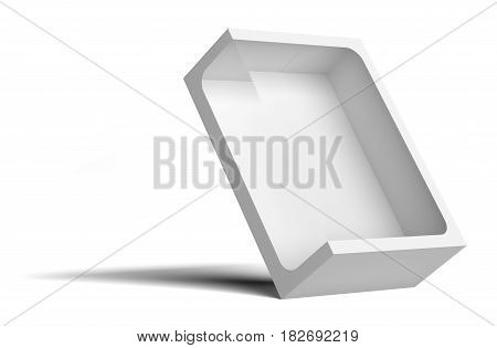 White empty packing cardboard box. In the box cutout in the middle. Box tilted back. Isolated on white background. 3D illustration