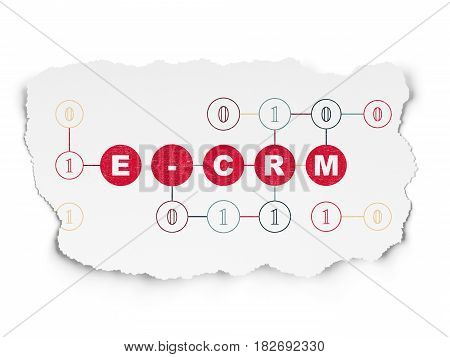 Business concept: Painted red text E-CRM on Torn Paper background with Scheme Of Binary Code
