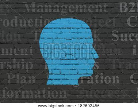 Finance concept: Painted blue Head icon on Black Brick wall background with  Tag Cloud