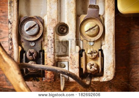 Clode Up Old And Rusty Electrical Equipment