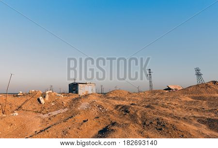 Abandoned electrical substation. In the sands of southern Africa