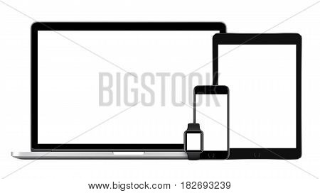 Responsive mockup consisting of laptop with black tablet pc, mobile smartphone and smart watch. Isolated on white background. Technology set of devices for responsive design presentation.