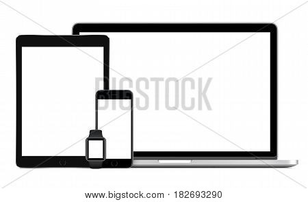 Responsive template consisting of laptop with black tablet pc, mobile smartphone and smart watch. Isolated on white background. Technology set of devices for responsive design presentation.
