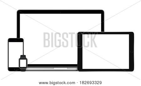 Responsive gadgets set consisting of laptop with black tablet pc, mobile smartphone and smart watch. Isolated on white background. Technology mockup for responsive design presentation.