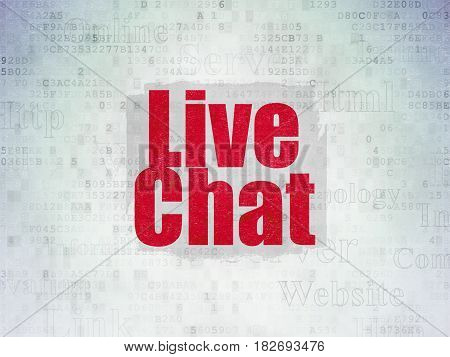 Web development concept: Painted red text Live Chat on Digital Data Paper background with   Tag Cloud