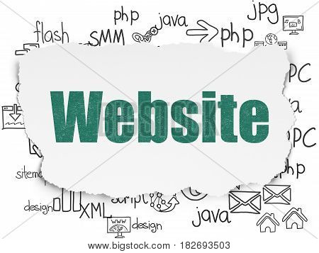 Web design concept: Painted green text Website on Torn Paper background with  Hand Drawn Site Development Icons