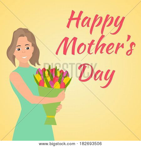 Happy Mothers Day. Woman with beautiful colorful flower. Vector illustration in flat style.