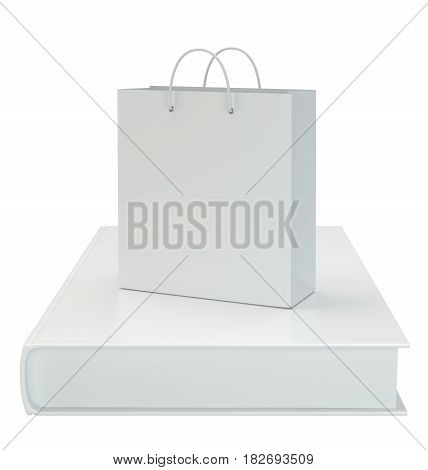 Paper bag with a book isolated on white background. 3d rendering.