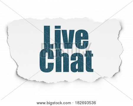 Web design concept: Painted blue text Live Chat on Torn Paper background with  Hexadecimal Code