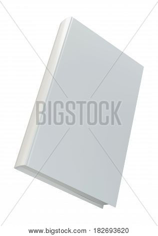 Blank vertical book cover template front side standing. Isolated on white background. 3d rendering