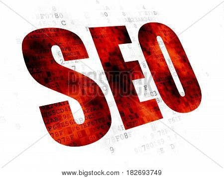 Web design concept: Pixelated red text SEO on Digital background