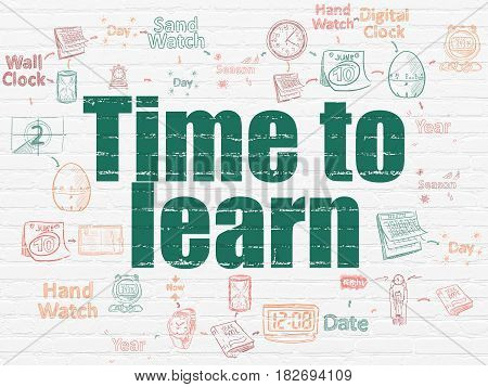 Time concept: Painted green text Time to Learn on White Brick wall background with Scheme Of Hand Drawing Time Icons