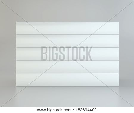 stack of books blank book cover white. 3d rendering.