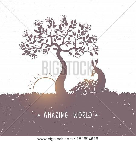 Silhouette of amazing and cute cartoon deers on nature. New born Fawn with Mom. Vector illustration