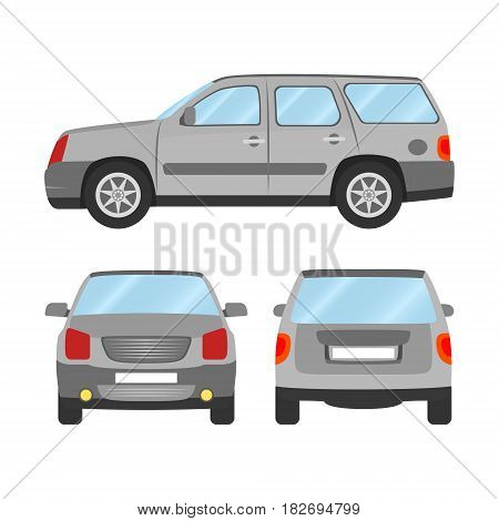 Car Vector Template On White Background. Sport Utility Vehicle Isolated. Flat Style, Business Design