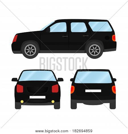 Car vector template on white background. Sport Utility Vehicle isolated. flat style, business design, black Sport Utility Vehicle crossover car.