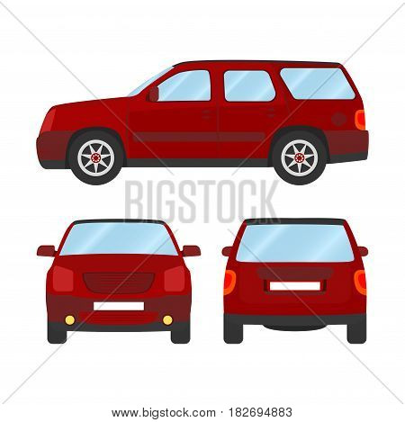 Car vector template on white background. Sport Utility Vehicle isolated. flat style, business design, red Sport Utility Vehicle crossover car.
