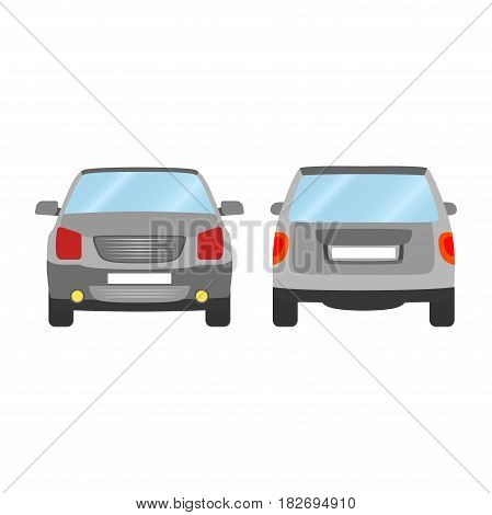 Car vector template on white background. Sport Utility Vehicle isolated. flat style, business design, grey Sport Utility Vehicle crossover car in front and back view.
