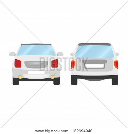Car vector template on white background. Sport Utility Vehicle isolated. flat style, business design, white Sport Utility Vehicle crossover car in front and back view.