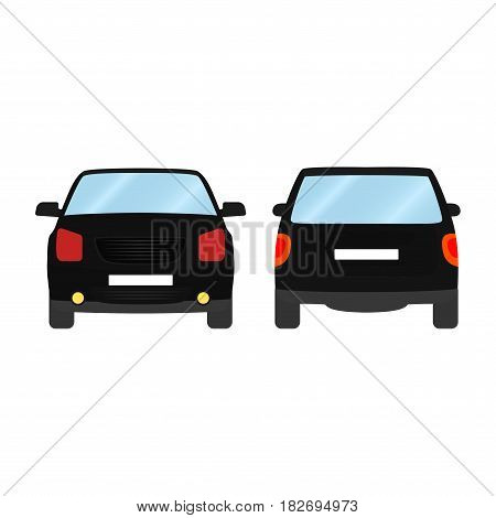 Car vector template on white background. Sport Utility Vehicle isolated. flat style, business design, black Sport Utility Vehicle crossover car in front and back view.
