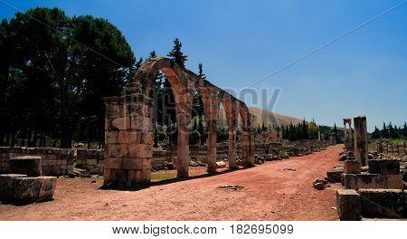 Ruins of ancient city Anjar in Bekaa valley Lebanon