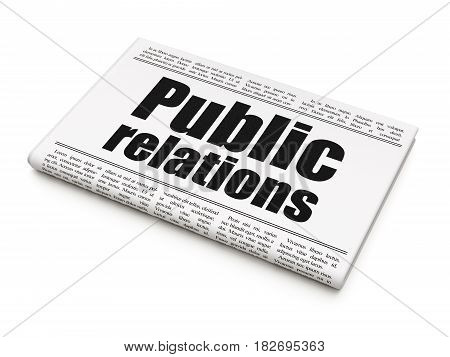 Advertising concept: newspaper headline Public Relations on White background, 3D rendering