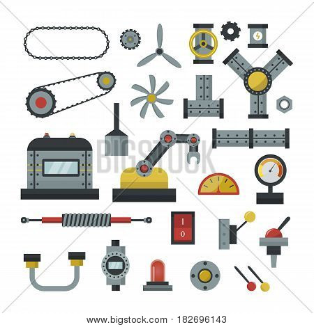 Part of machinery flat icon manufacturing work detail design gear mechanical equipment industry technical engine. Vector technology element engineering metallic factory tool.