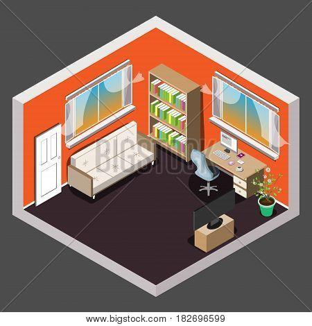Living room isometric interior. Sofa, work table tv