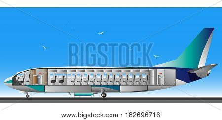 Flat design section airplane interior illustration vector