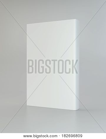 Front view of blank book cover white. 3d rendering.