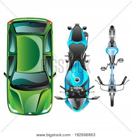Top view of different transportation vector illustration.