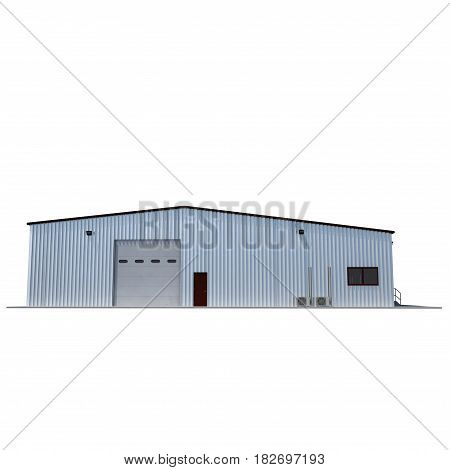 Facade of storage warehouse with closed gate isolated on white background. 3D illustration