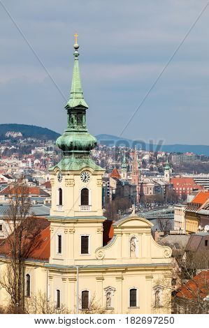 Saint Catherine of Alexandria Church and Buda bank of Danube, view from Gellert hill in Budapest, Hungary. Alexandriai Szent Katalin templom