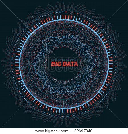 Big data circular visualization. Futuristic infographic. Information aesthetic design. Visual data complexity. Complex data threads graphic visualization. Social network representation. Abstract graph
