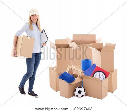 Moving Day Or Delivery Concept - Woman With Cardboard Boxes With Stuff Isolated On White