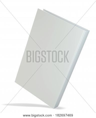 White realistic book isolated on white background. 3d rendering.
