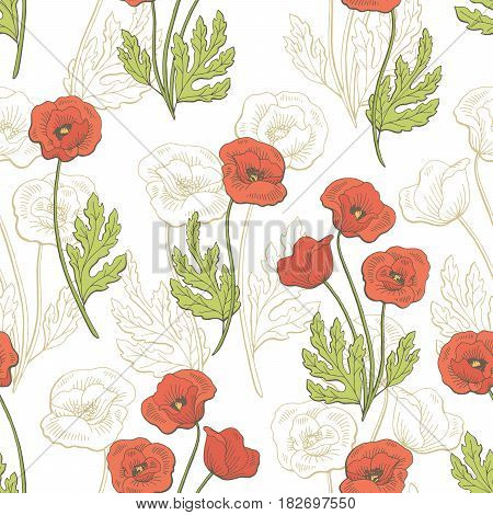 Poppy flower graphic color seamless pattern sketch illustration vector