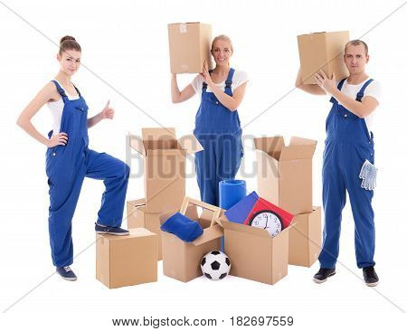 moving day concept - people in blue workwear with cardboard boxes isolated on white background